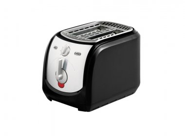 Bread toaster isolated on white with electric cable and plug