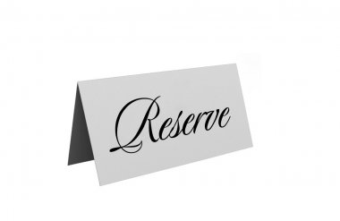 Reserved sign isolated over white