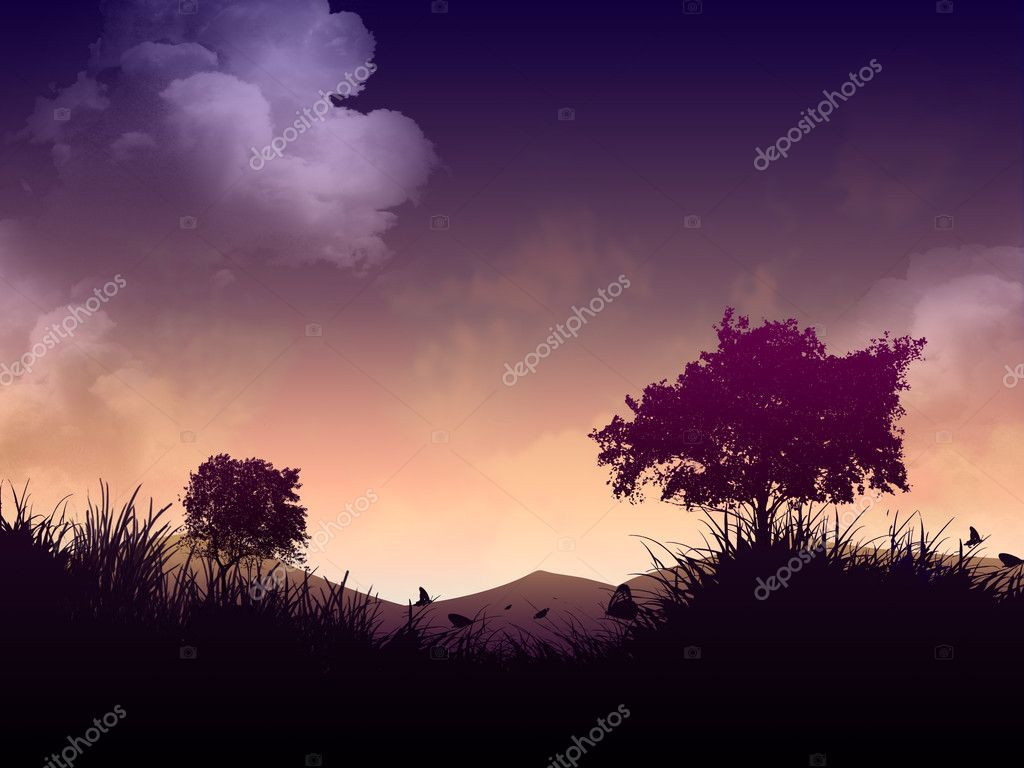 Morning landscape with silhouettes
