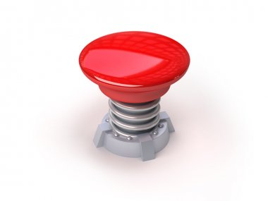 3d red button