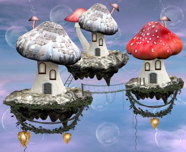 Magic mushrooms town illustration
