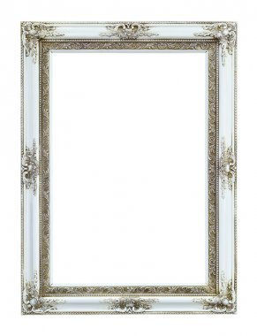 White wood photo image frame isolated