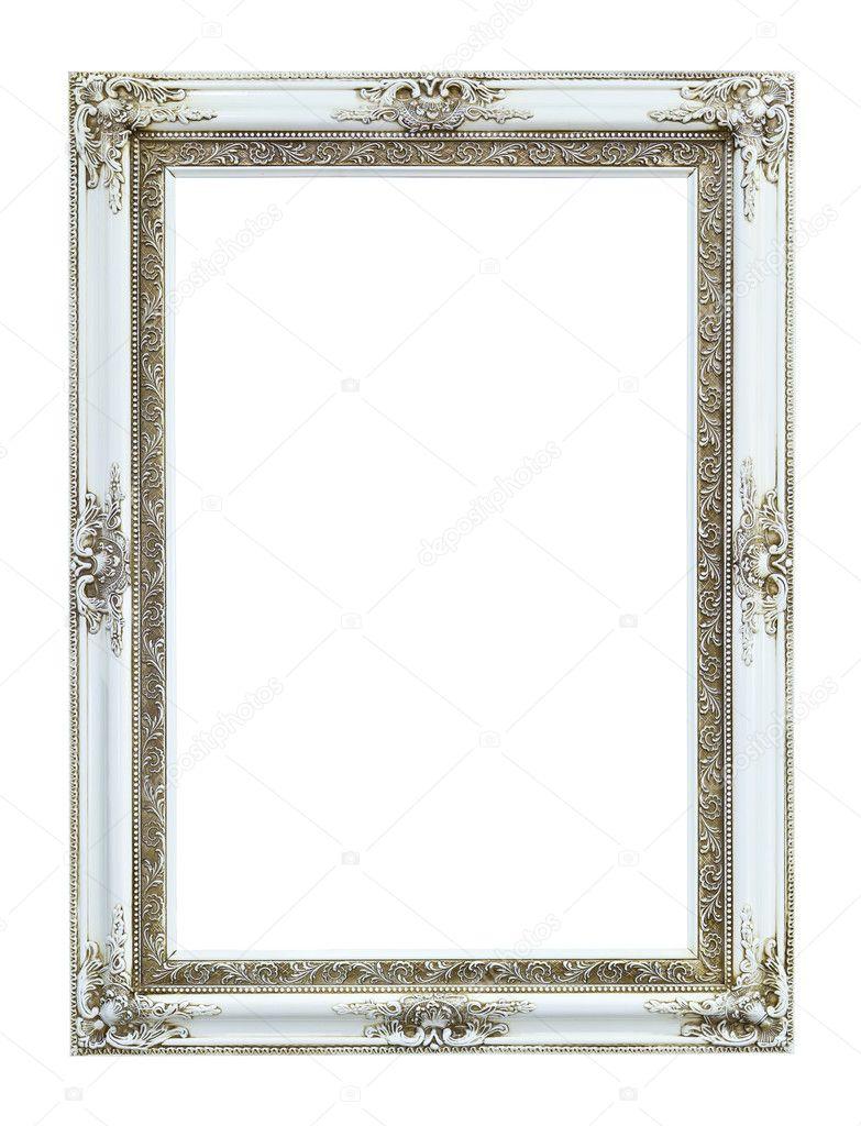 White wood photo image frame isolated