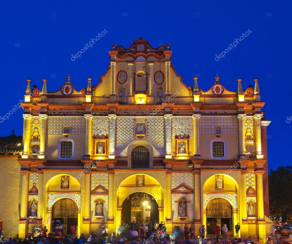 San Cristobal de las Casas Cathedral, night view. Chiapas, Mexico.