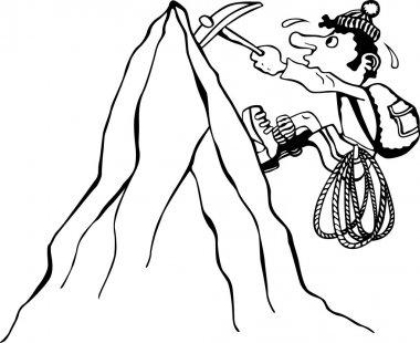 Alpinist climbing a mountain