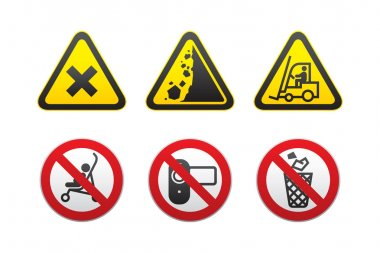 Warning Hazard and Prohibited Signs set-vector
