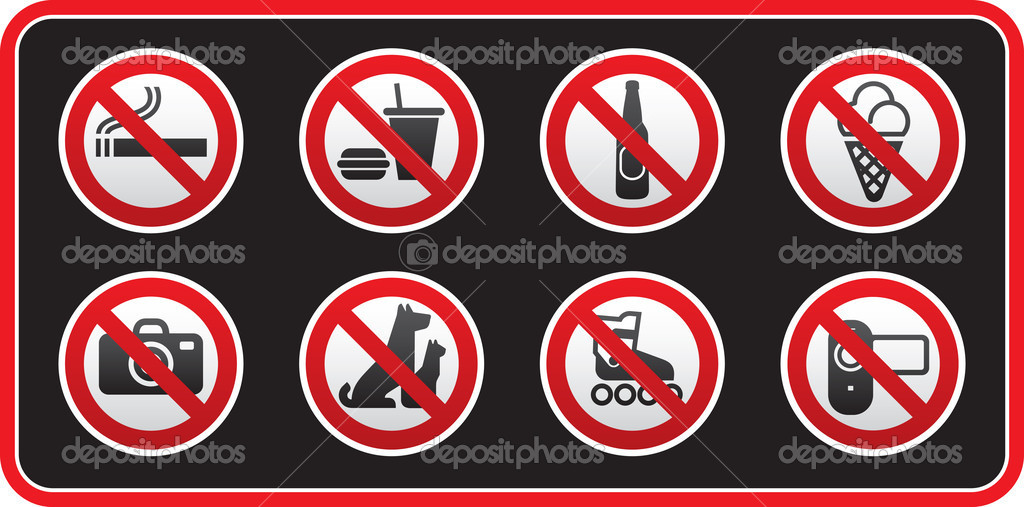 Prohibited signs sticker stock vector
