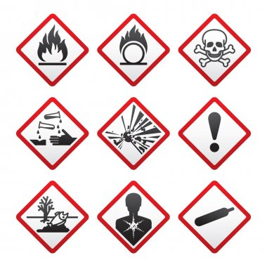 New Hazard warning signs. Globally Harmonized System stock vector