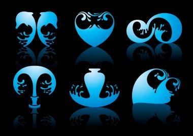 Symbols of water reflection on black background