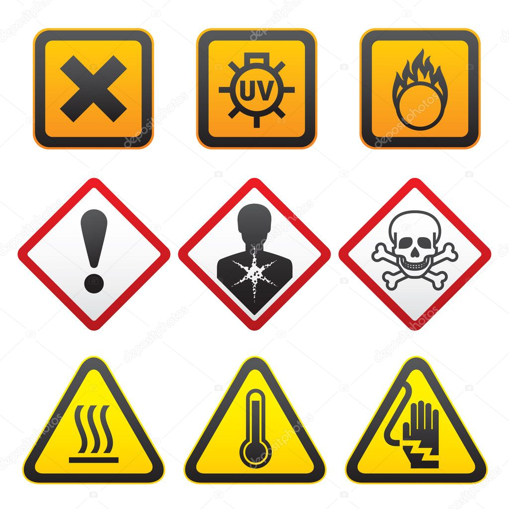 Warning symbols hazard signs forth set stock vector ecelop warning symbols and hazard signs forth set vector by ecelop buycottarizona Image collections