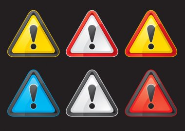 Set Hazard warning attention sign color on a black background