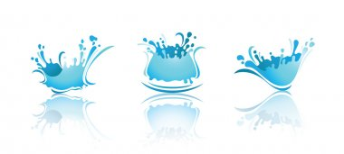 Splashing Waves and Water with reflection. First set icons