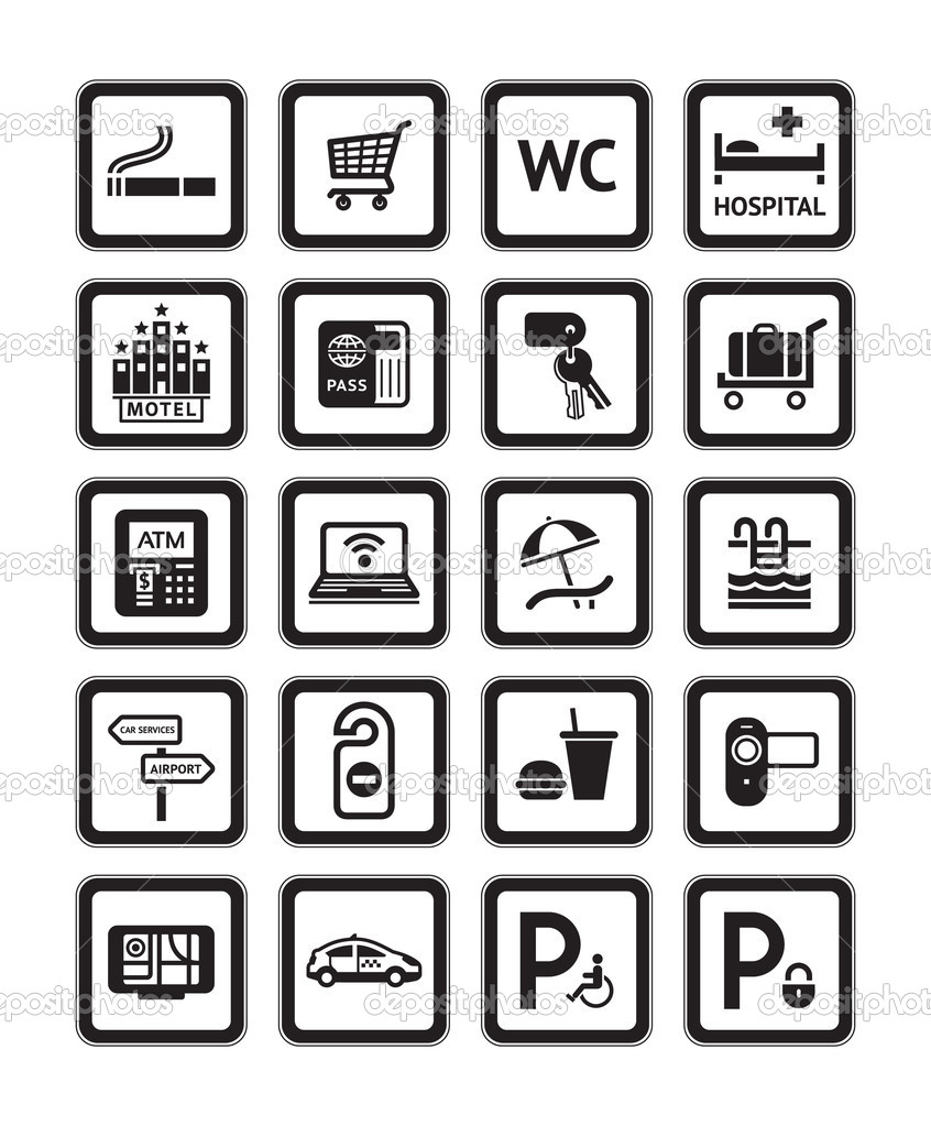 Signs set hotel services symbols black stock vector ecelop signs set hotel services symbols motel services black vector by ecelop biocorpaavc Gallery
