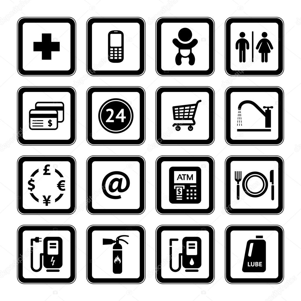 Set Symbols Supermarket Services Shopping Icons Black Stock