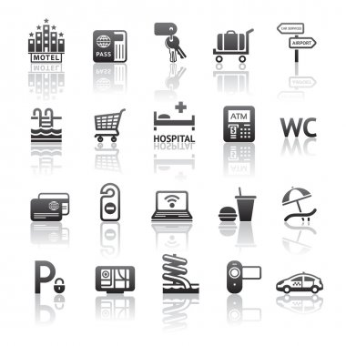 Icons set motel services. Pictograms hotel services. Gray reflection