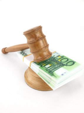 Auction gavel and euro