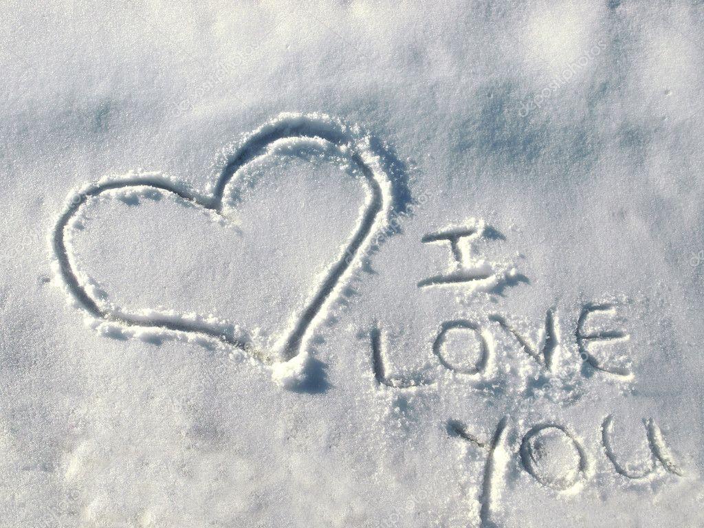 Я тебя люблю на снегу картинки