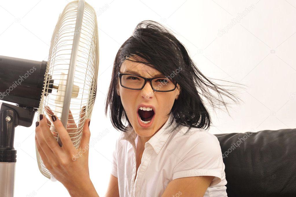 Ventilator and woman