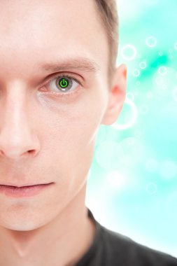 Closeup portrait of half face of young man with power button ins