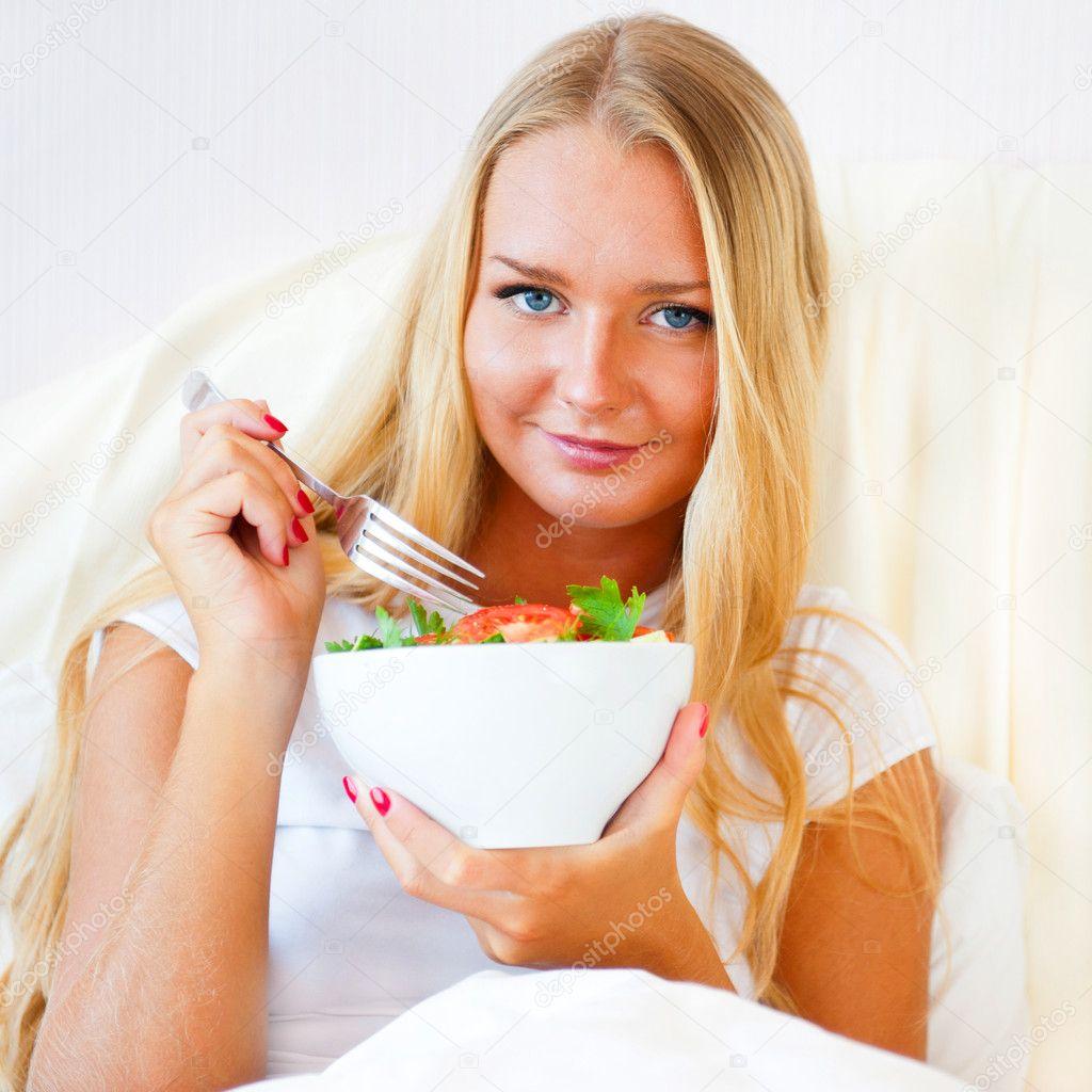 Closeup Portrait Of Pretty Caucasian Woman Having A Healthy