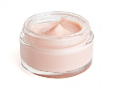 Face cream in a jar with clipping path