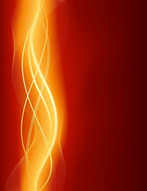 Glowing abstract wave background in red golden