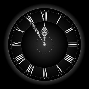 Stylish black silver vector clock.