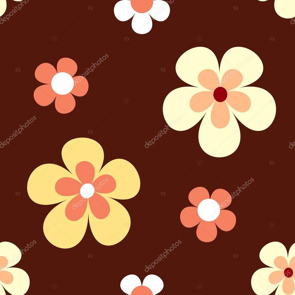 Seamless retro flowers pattern