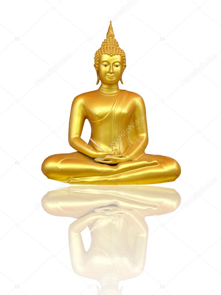 Beautiful Buddha image in Thailand, a white background