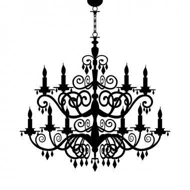 Baroque chandelier silhouette