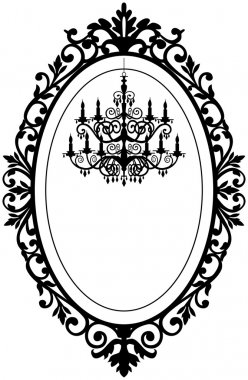 Vintage, antique picture frame with baroque chandelier black silhouette, full scalable vector graphic, change the colors as you like. stock vector