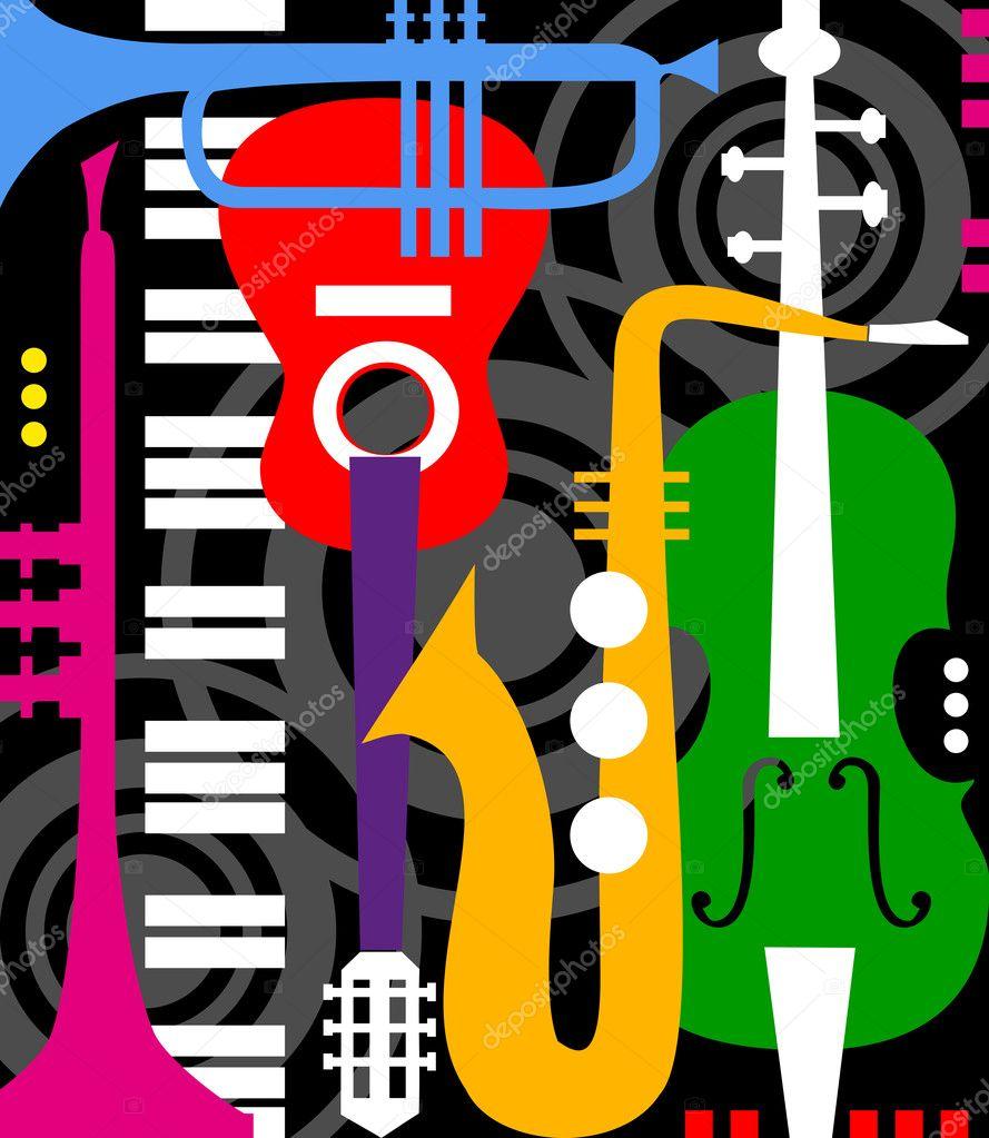 Music instruments on black