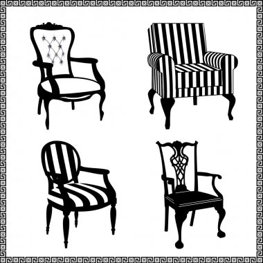 Collection of different chairs, black furniture silhouettes stock vector