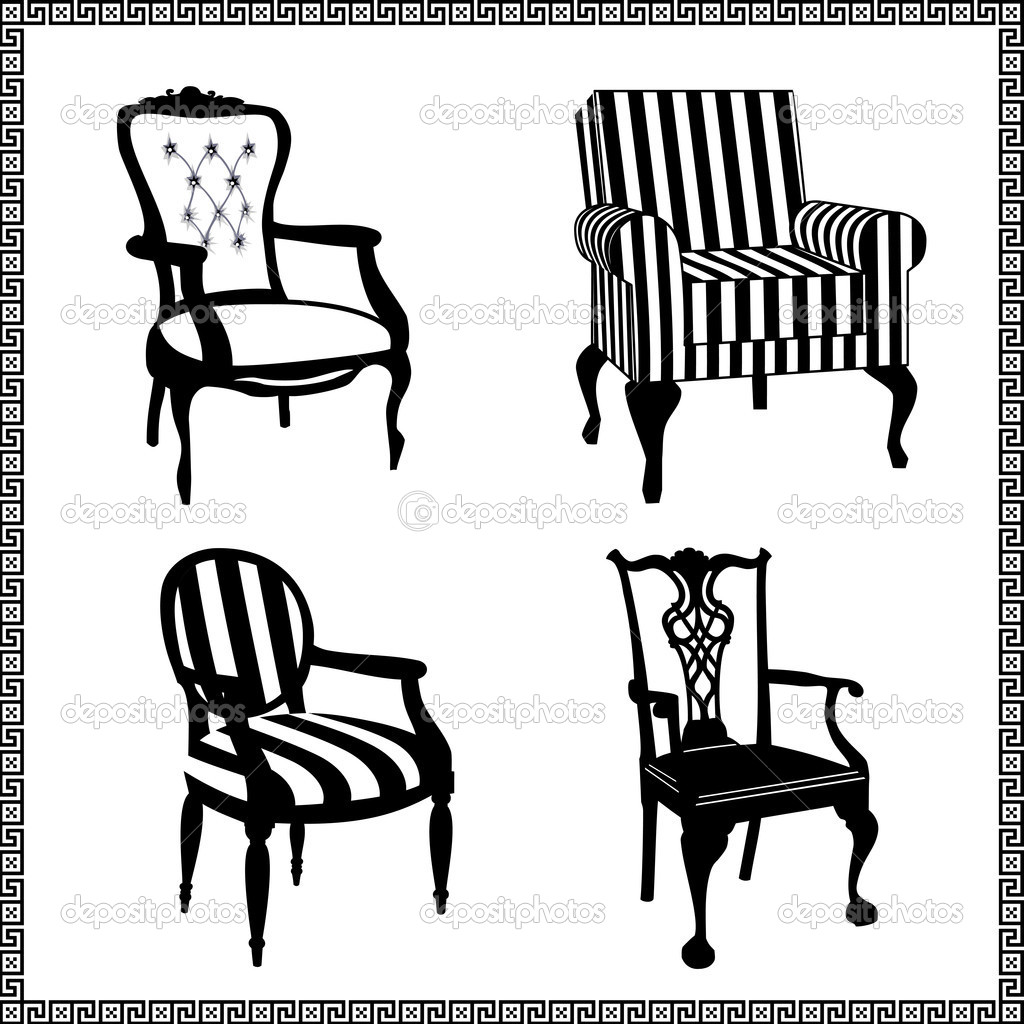 Antique chair silhouette - Collection Of Different Chairs Black Furniture Silhouettes Vector By Elakwasniewski