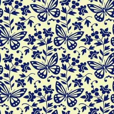 Vector butterflies seamless pattern