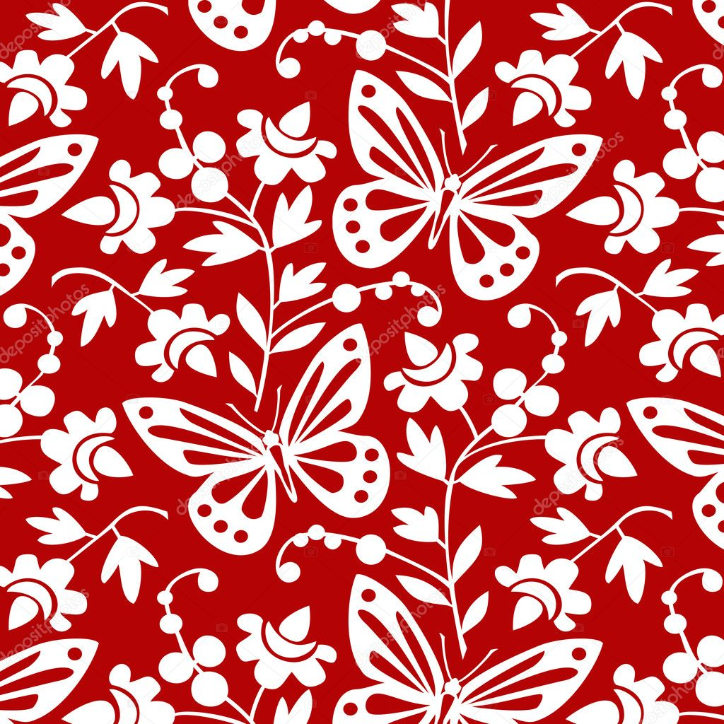 Red And White Patterned Wallpaper: Vector Butterflies And Flowers Wallpaper