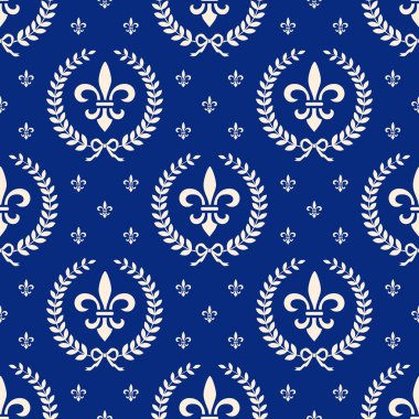 Royal classic seamless pattern background with laurel wreath and fleur de lis on blue clip art vector