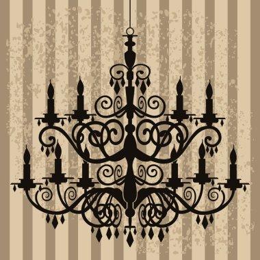 Vintage chandelier on antique background