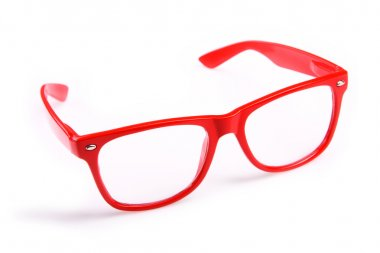 A picture of red trendy glasses over white background stock vector
