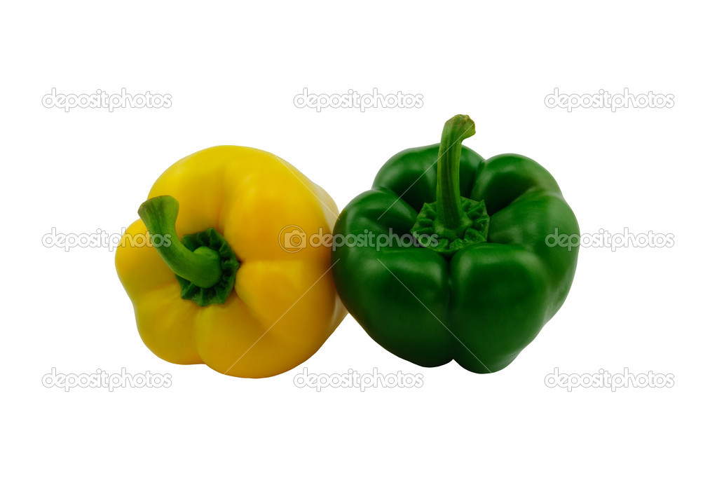 Paprika (Capsicum annuum) - green and yellow bell pepper