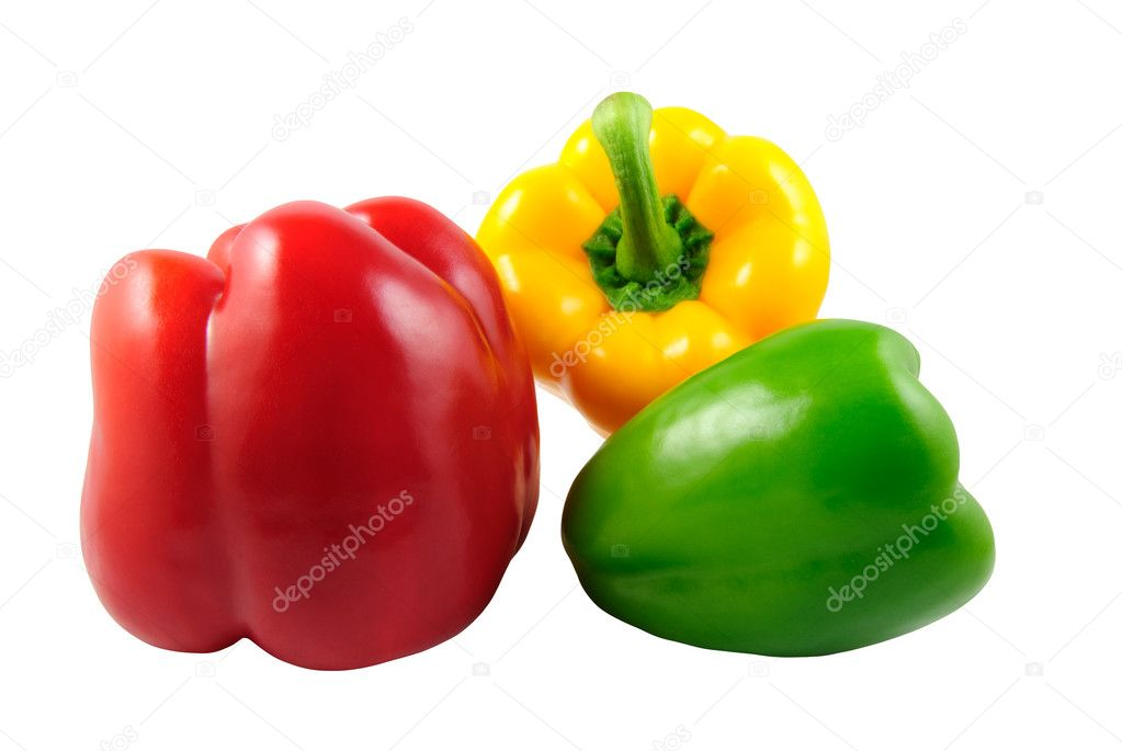 Paprika (Capsicum annuum) - red, green and yellow bell pepper
