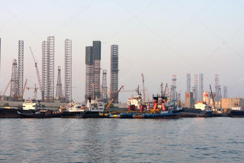 Oil rigs in the repair, Sharjah, Uae