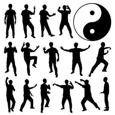 A set of human silhouette doing exercise. stock vector
