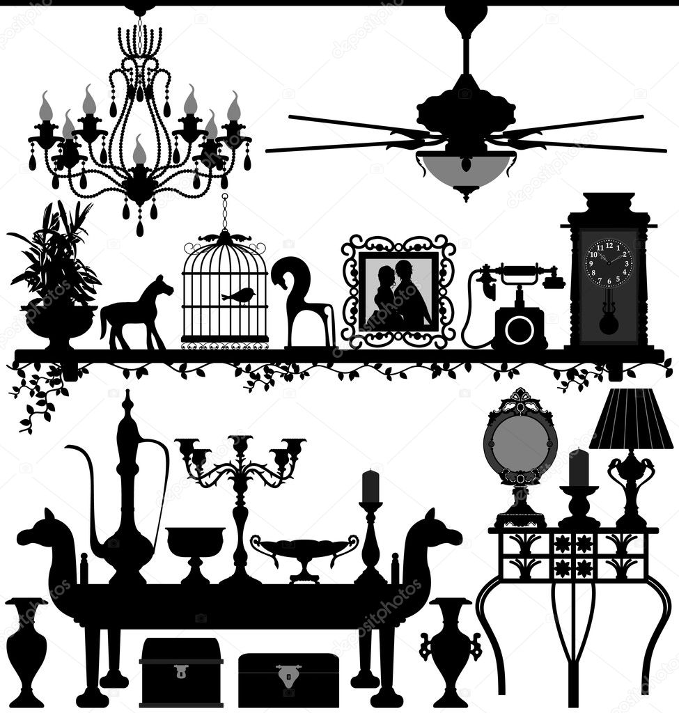Antique Home Decoration Furniture Interior Design  Stock Vector - Home decoration design pictures