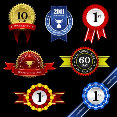 Seal Ribbon Rosette Badge Trophy Medal Banner Award
