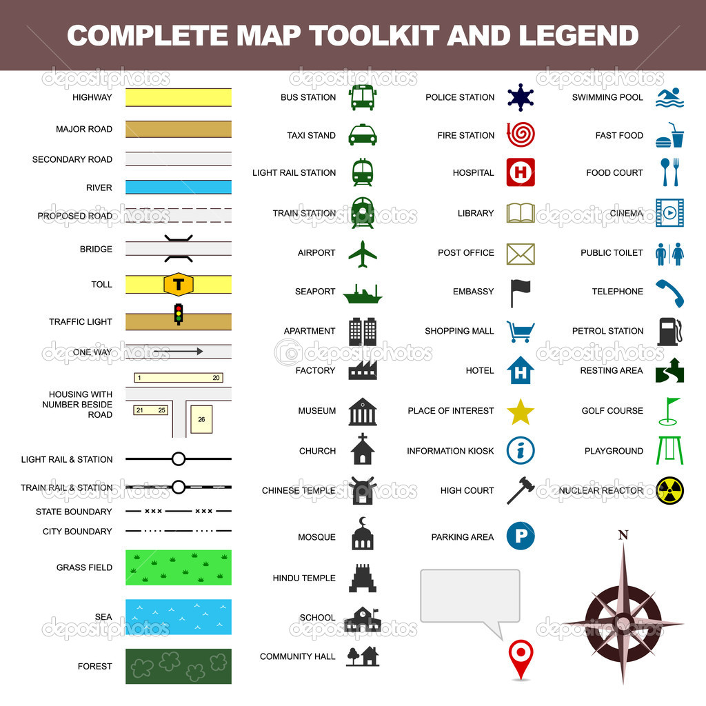 Map icon legend symbol sign toolkit element stock vector a complete set of map toolkit and legend vector by leremy buycottarizona