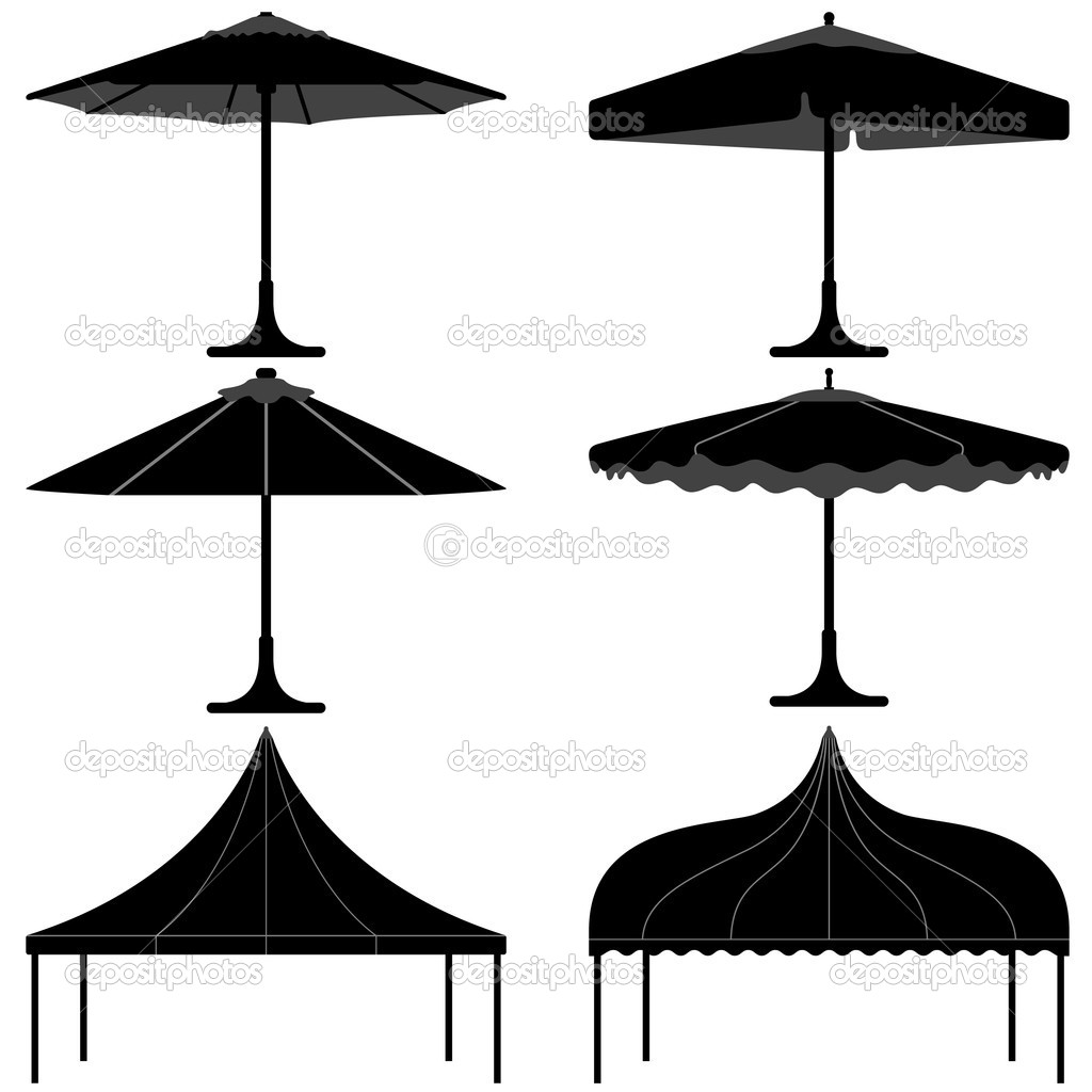 A set of gazebo and tent design for party. u2014 Vector by leremy  sc 1 st  Depositphotos & Umbrella tent gazebo canopy camp silhouette u2014 Stock Vector ...