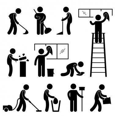Clean Wash Wipe Vacuum Cleaner Worker Pictogram Sign