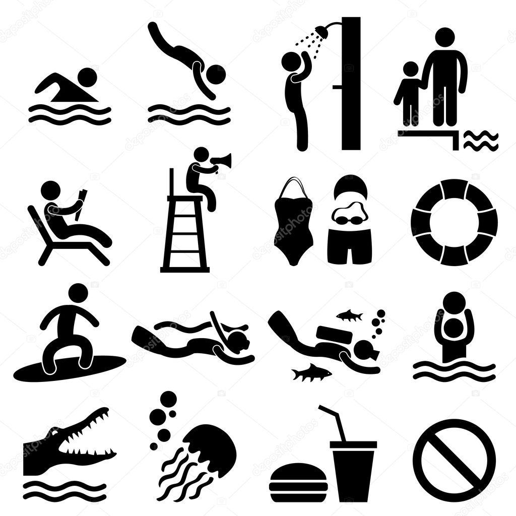 Man Swimming Pool Sea Beach Sign Symbol Pictogram Icon