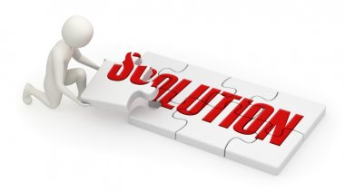 3d man assembling solution puzzle
